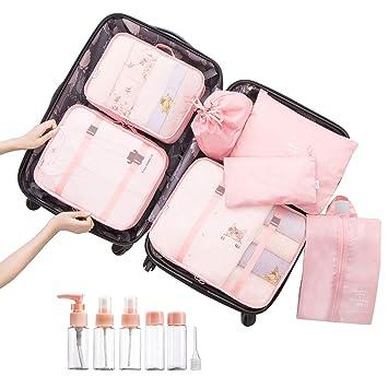 Overmont 7 en 1 set de bolsa organizador de maleta equipaje impermeable portable para almacenamiento de ropa zapato de viaje color celeste/rosa/azul ...
