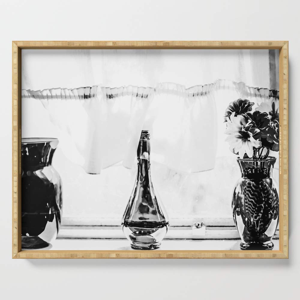 Society6 Serving Tray with handles, 18'' x 14'' x 1 3/4'', Flowers in the vase next to the window in black and white by timla by Society6 (Image #1)