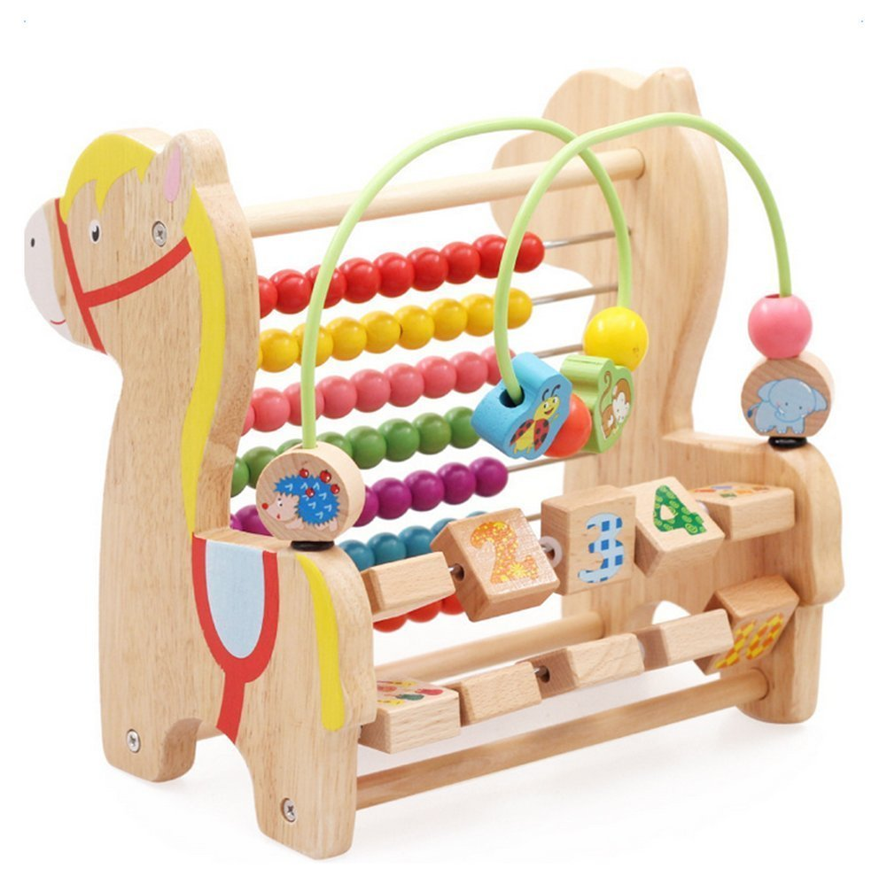 Vi.yo Wooden Puzzle Bead Maze Counting Frame Abacus Giraffe Shaped Stand Rack Mathematics Educational Toy for 3-6 Years Old