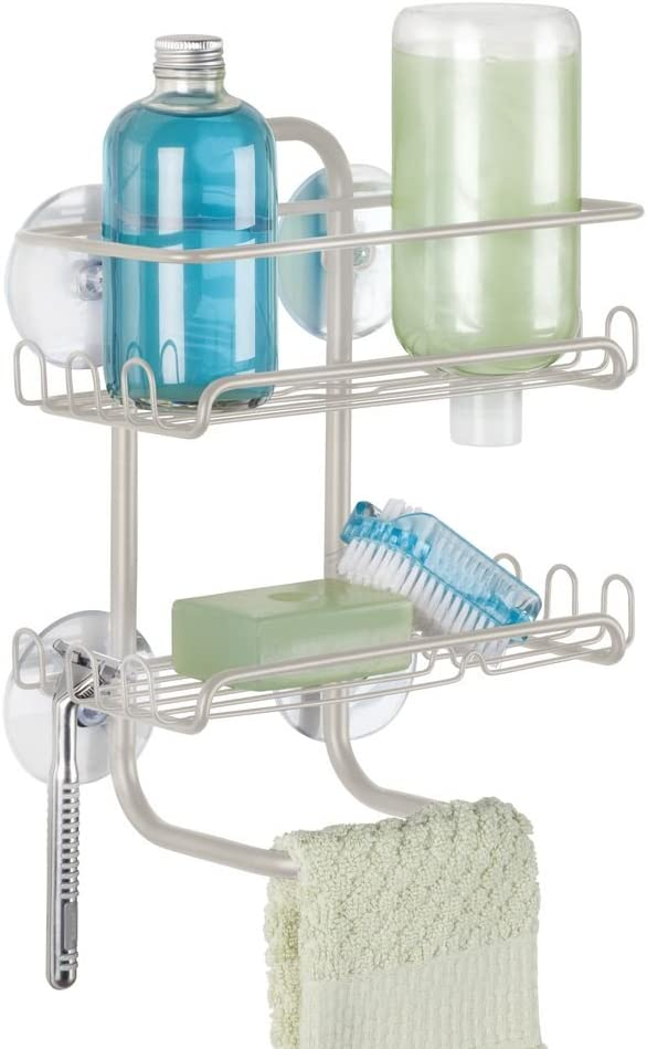 InterDesign Classico Suction Bathroom Shower Caddy Shelves for Shampoo Satin Soap Conditioner