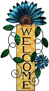Grace Home Rusitc Metal Flower Welcome Sign Yard Door Decoration Patio Fence Indoor Outdoor Wall Art Hanging Flower Spring Door Welcome Wreath 15''H (Blue)