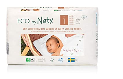Eco by Naty Premium - Pañales desechables para pieles sensibles, tamaño 1, 2 –