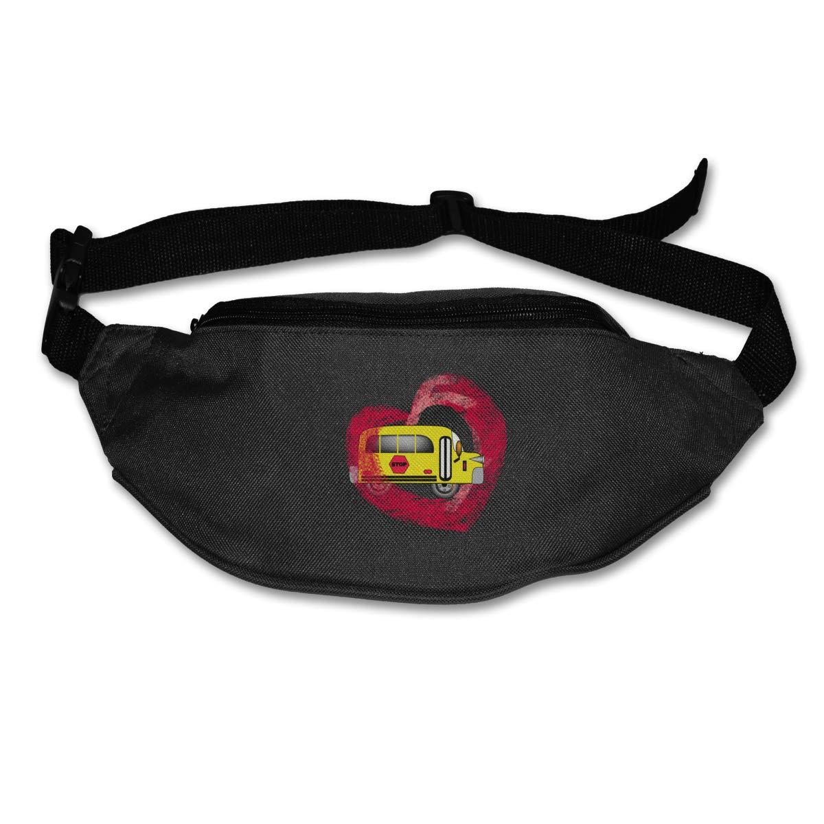 School Bus Love Heart Sport Waist Pack Fanny Pack Adjustable For Run