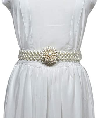 b7ce4f553739b1 Cheerlife Damen Elastischer breiter Gürtel mit Perlen Strasssteine  Taillengürtel Taillenkette Hüftgurt Kleidgürtel Für Party Hochzeit Kleider