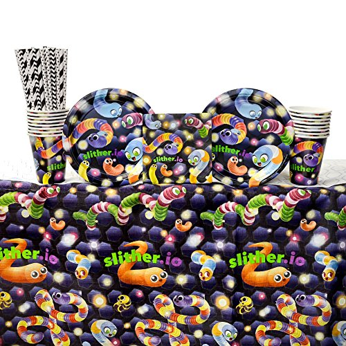 Slither.io Birthday Party Supplies Pack for 16 Guests: Straws, Dessert Plates, Beverage Napkins, Table Cover, and Cups (Best Io Paper Io)