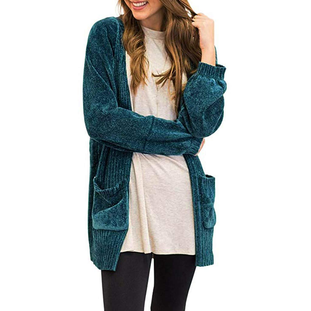 Womens Long Sleeve Open Front Sweater Pockets Soft Velvet Chenille Cardigans