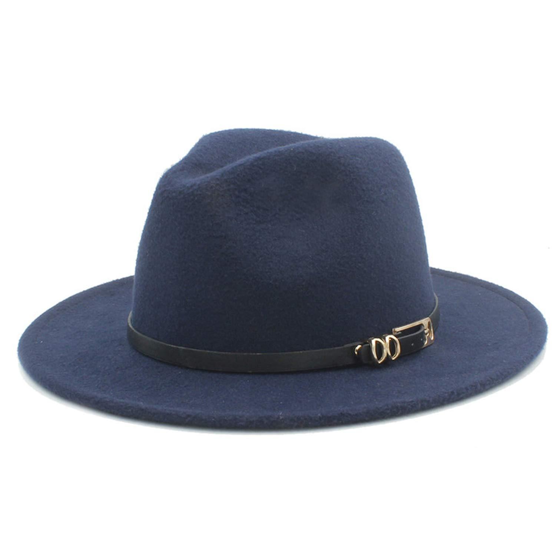 HiiWorld 100/% Wool Women Outback Fedora Hat for Elegant Lady Wide Brim Jazz Panama Cap with Fashion Belt Size 56-58CM