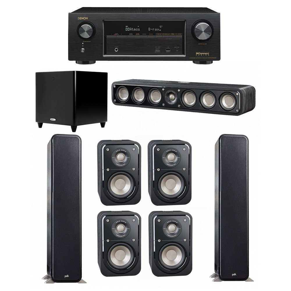 Polk Audio Signature 7.1 System with 2 S55 Tower Speaker, 1 Polk S35 Center Speaker, 4 Polk S10 Bookshelf Speaker, 1 Polk DSW PRO 550 wi Subwoofer , 1 Denon AVR-X1300W AV Receiver by Polk Audio