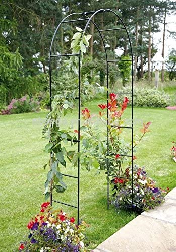 Arco de metal para jardín 2, 4 m para colgar plantas enrejado negro recubierto con polvo de metal: Amazon.es: Jardín