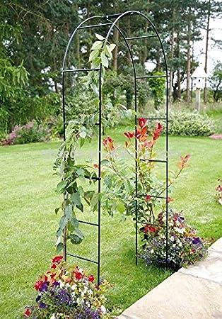 Arco de metal para jardn 2 4 m para colgar plantas enrejado negro