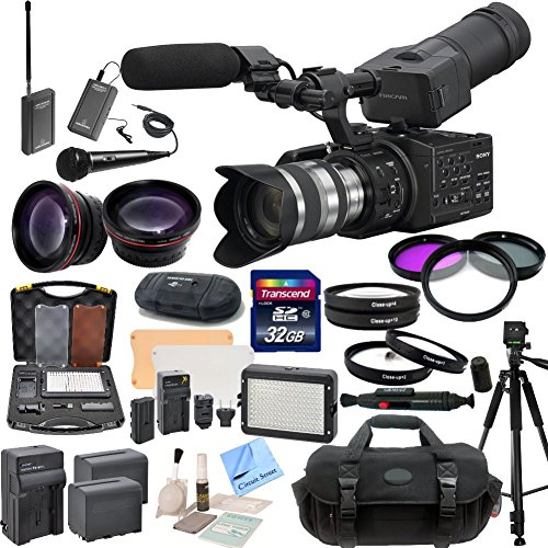 Sony NEX-FS100UK Super 35 Camcorder with 18-200mm Lens & CS Interview/Documentary Kit: Includes Wireless Lapel & Handheld Microphone Kit, Professional Aluminum Tripod, Weather Proof Case, HD Wide Angle Lens, Telephoto HD Lens, 3 Piece Filter Kit, 4 Piece  by Sony