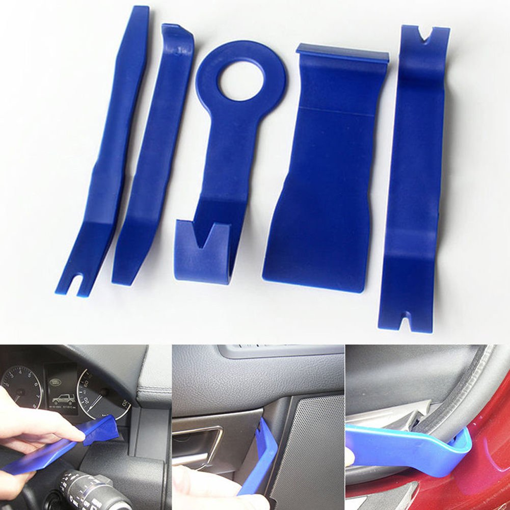 5Pcs//1set dljztrade Audio GPS Door Panel Radio Open Pry Removal Tools Kit Car Dash Plastic Trim Blue
