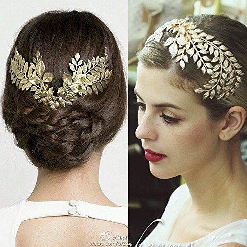 Generic 2018 crown tiara bride headdress bride crown tiara golden leaves hair bands hair Greek goddess frontlet marriage -