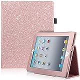 iPad 4 Case, iPad 2 Case, iPad 3 Case, UrbanDrama Glitter Sparkly PU Leather Folding Stand Smart Cover, Auto Wake / Sleep Multi Viewing Angle Bling Shiny Protective Case for iPad 2 / 3 / 4, Rose Gold