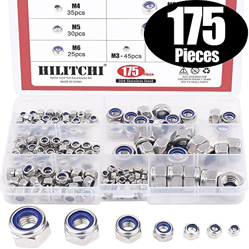 Lock Nut Kit - Hilitchi 175-Piece Stainless Steel Nylon Lock Nut Assortment Kit, Size Include: M3 M4 M5 M6 M8 M10 M12 (Lock Nuts)