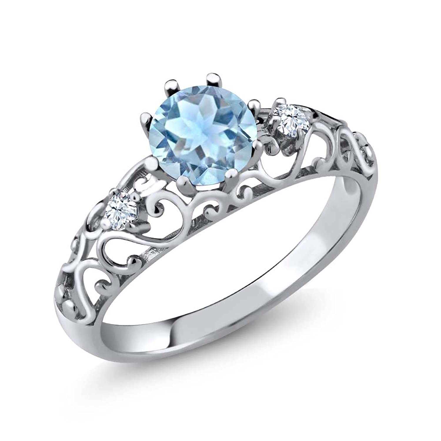 0.83 Ct Round Natural Sky Blue Aquamarine 925 Sterling Silver Women's Ring (Available in size 5, 6, 7, 8, 9)