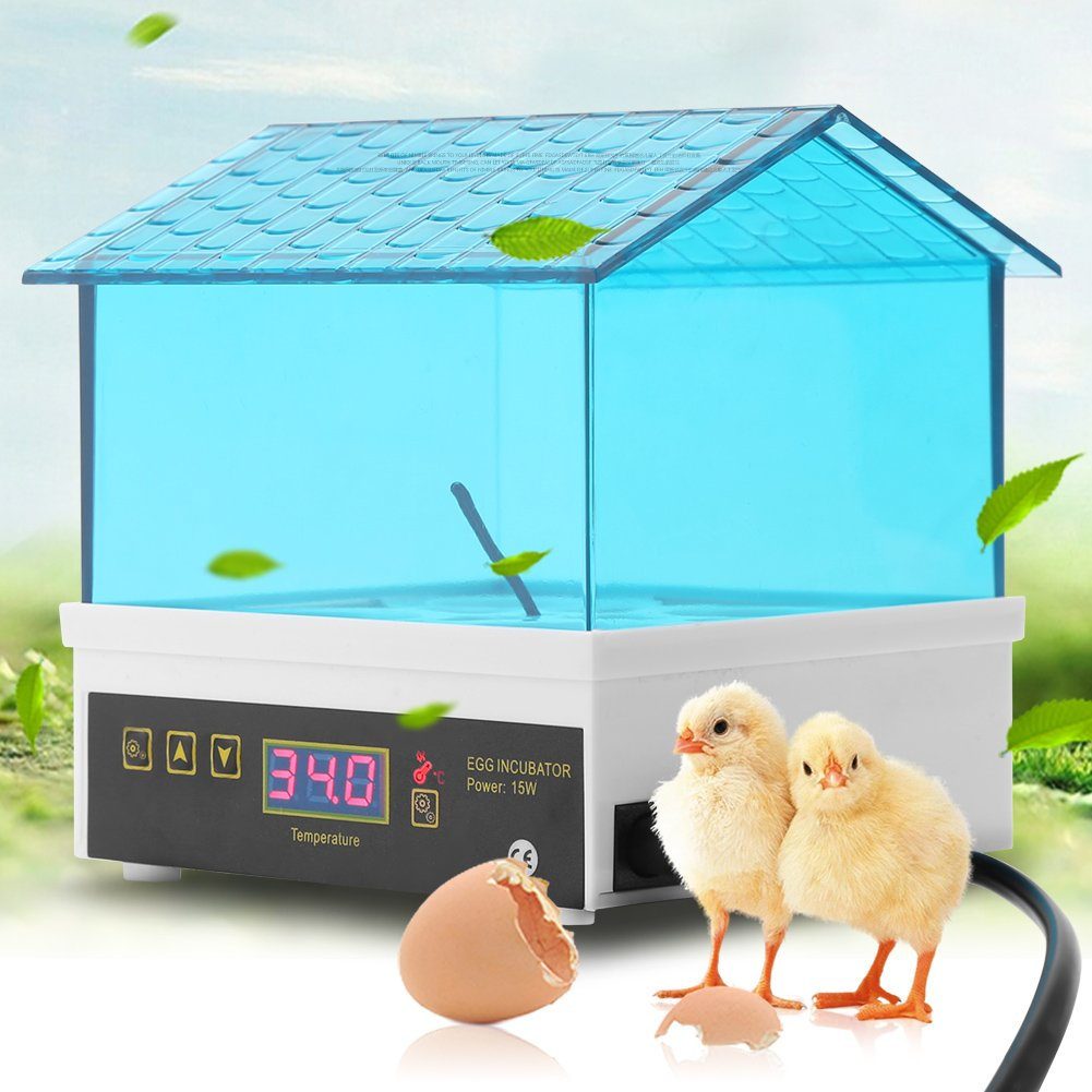 Egg Incubator,4 Eggs Mini Digital Egg Hatcher Poultry Hatcher Clear Temperature Control Manual Turning for Chicken Goose Duck by Estink