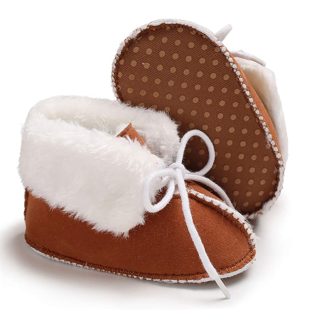 0-6 Months Small ,Brown Meeshine Newborn Baby Infant Bowknot Snow Boots Winter Warm Soft Toddler Girls Boys Prewalker Crib Shoes