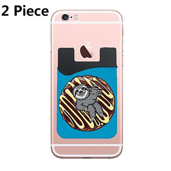 Amazon com: Sloth Choco Donut Adhesive Silicone Cell Phone Wallet