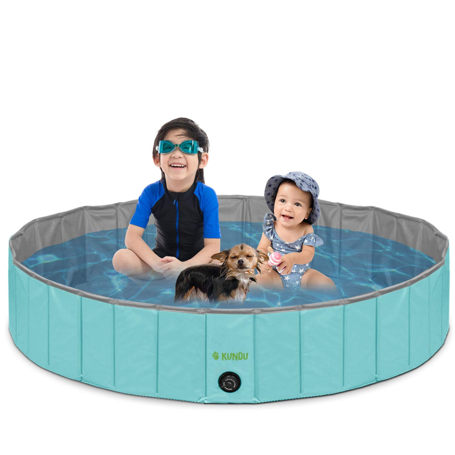Kundu Round (47'' Diameter x 12'' Deep) Heavy Duty PVC Pets and Kids Outdoor Pool/Bathing Tub - Portable & Foldable - Large