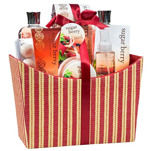 Bath and Body Set ~ Sugar Berry Spa Bath Gift Basket for Women in a Red/Tan Tapestry Box Including Body Lotion, Shower Gel, Body butter, Bath Bombs and More.