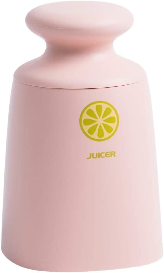 Citrus Juicer, Lemon Squeezer - Hand-held Manual Juicer | Includes 1-cup Glass container | Press and Twist (Pink)