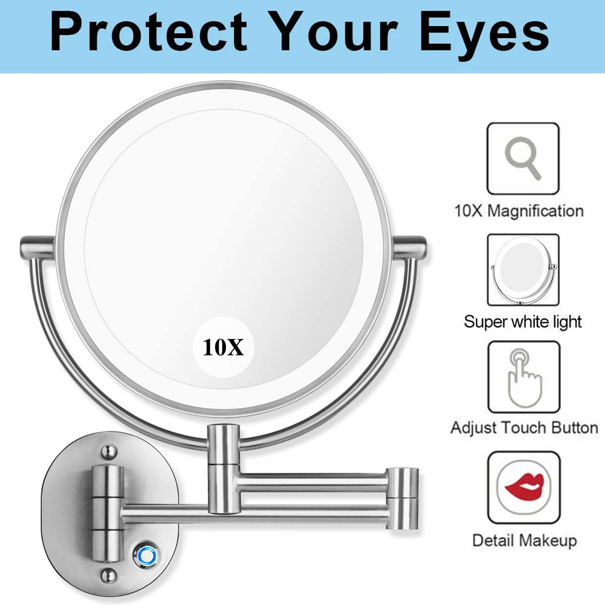AmnoAmno 8.5 LED Double Sided Swivel Wall Mount Vanity mirror-10x Magnification,13.7 Extension,3 Colors Mode Adjustable Light Mirror for Bedroom or Bathroom Wall Mount Mirror