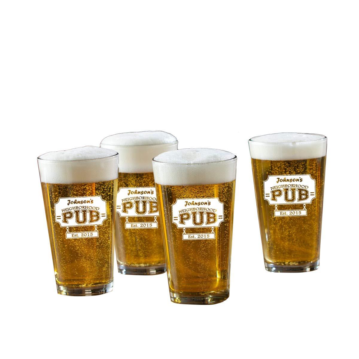 Set of 4 Personalized Neighborhood Pub Pint Glasses - Monogrammed Pint Glasses - Custom Beer Glasses