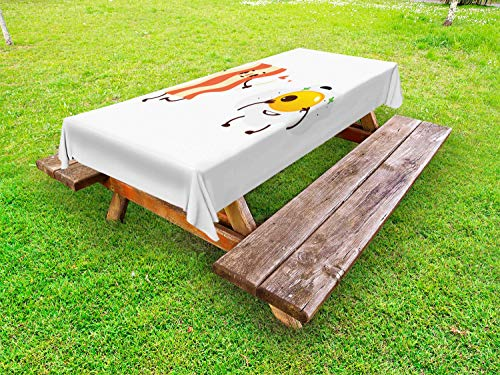 Ambesonne Bacon Outdoor Tablecloth, Funny Cartoon Characters of Side up Fried Bacon and Egg Smiling Breakfast, Decorative Washable Picnic Table Cloth, 58