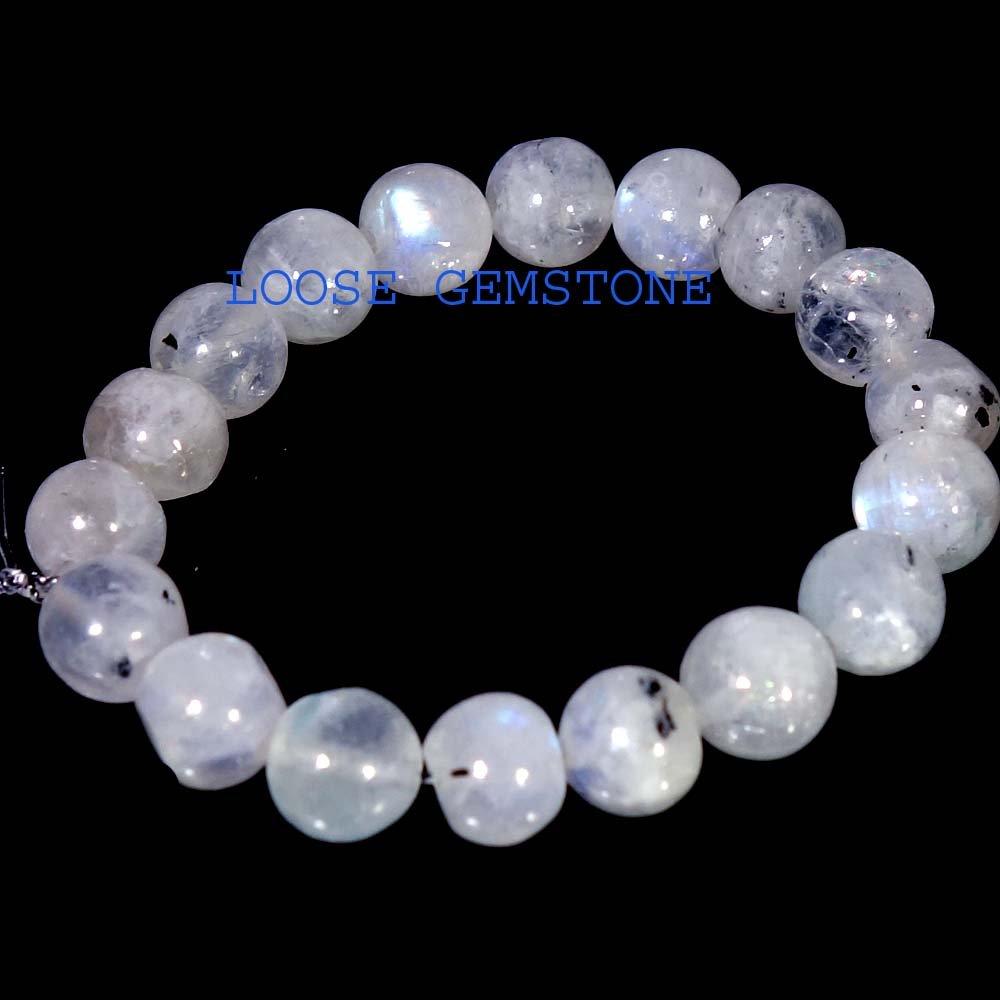 Rainbow Moonstone 6mm Round Bead Stretch Bracelet with blue power flashing