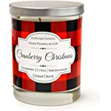 Cranberry Christmas | Cranberry, Citrus, Sandalwood | Buffalo Plaid Luxury Scented Soy Candle | 10 Oz. Glass Jar Scented Candle | Made in the USA | Decorative Candles | Best Smelling Candles for Home
