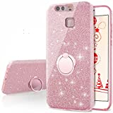 Cheap Huawei P9 Case, Silverback Girls Bling Glitter Sparkle Cute Phone Case With 360 Rotating Ring Stand, Soft TPU Outer Cover + Hard PC Inner Shell Skin for Huawei P9 -Rose Gold