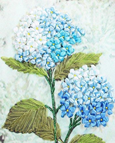 Ribbon Embroidery Kit Handmade Flower Design for Beginner DIY Wall Decor Hydrangea(No Frame)