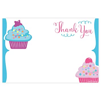 Amazon cupcake birthday thank you cards 20 count health cupcake birthday thank you cards 20 count m4hsunfo