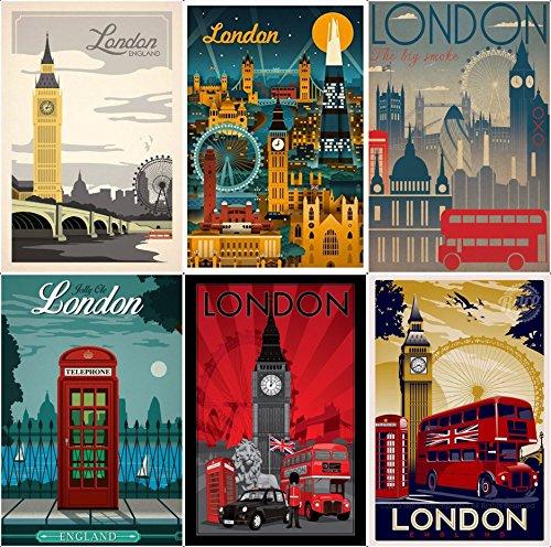 Lot of 6 Retro UK England London Fridge magnet collection Gift souvenir (Best Small Fridge Freezer Uk)