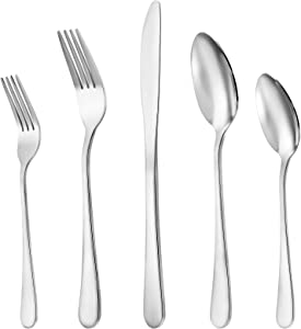Silverware Set 20-Piece, Stainless Steel Flatware Cutlery Set Service for 4, Kitchen Eating Utensils Include Knife/Fork/Spoon, Mirror Polished, Dishwasher Safe