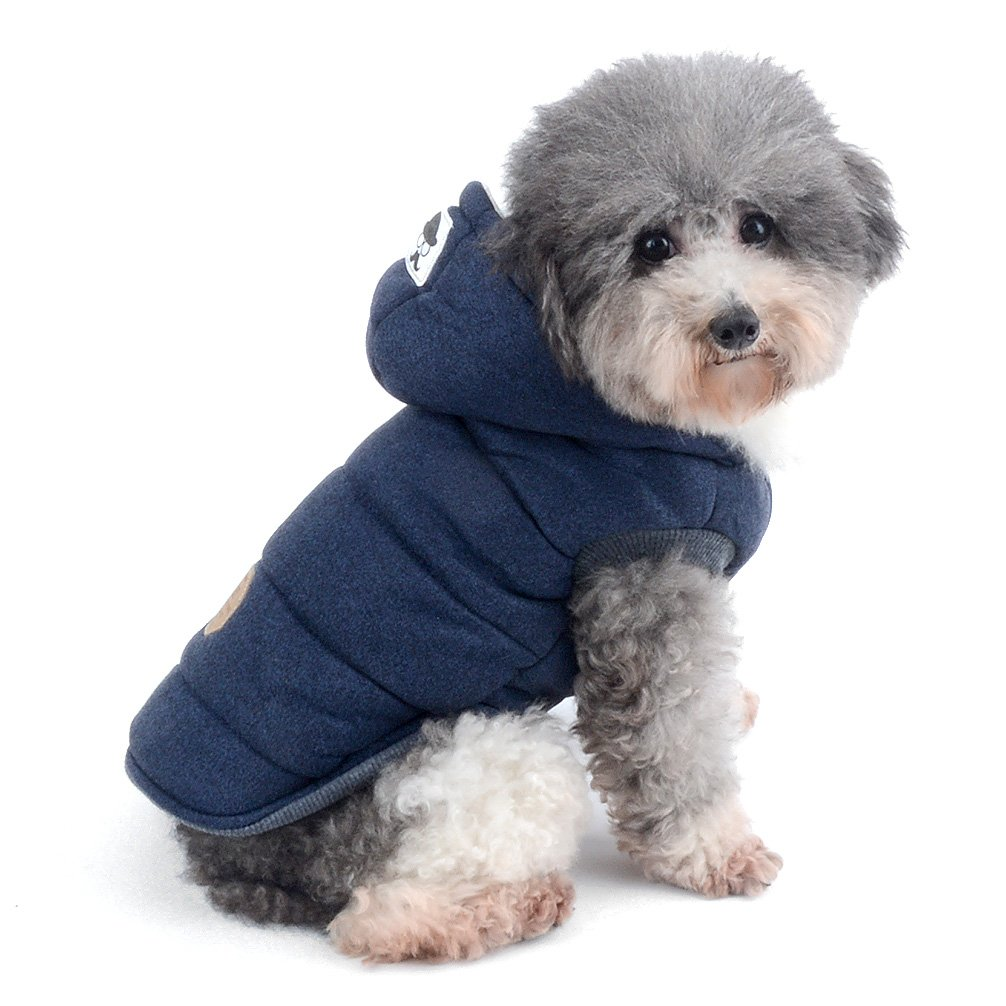 Ranphy Dog Winter Fleece Coat Cold Weather Jacket Chihuahua Hoodies for Small Medium Dogs Pet Padded Vest Coat Blue S