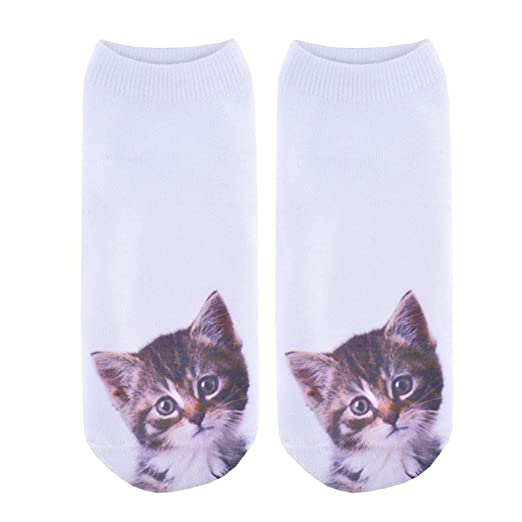 Doxi Lady Face Cat 3D Printing Socks Women Calcetines Mujer Funny