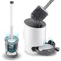 Domi-patrol Toilet Brush and Holder Set, Toilet Brush Wall Mounted Toilet Bowl Cleaner Brush Set for Bathroom…