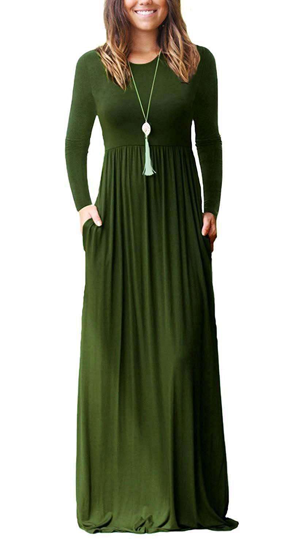 ThusFar Women's Solid Plain Long Sleeve Round Neck Long Tunic Maxi Dress with Pocket Green S