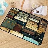 Vintage Decor Collection Area Floor Rugs Colorful Vintage Suitcase Antique Leather Decorative Travel Gift Map Nostalgia Anti-Static W67 x L78 Brown Cream Green