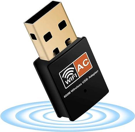 XVZ USB WiFi dongle, 600Mbps banda dual 2.4GHz/5GHz antena rápida de alta ganancia 802.11ac Wi-Fi adaptador de red inalámbrico compatible con Windows ...
