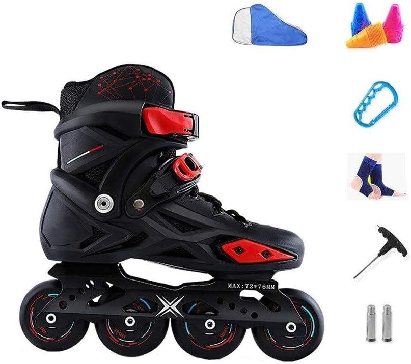 XDSAインラインスケート インラインスケート、男性と女性の単列スケート、成人初心者スケート、初心者、男性と女性のローラースケート、黒と白 (Color : 黒, Size : 41 EU)