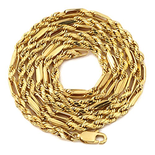 Milano Christmas Market - LoveBling 10K Yellow Gold 3mm Diamond Cut FigaRope Milano Chain Necklace with Lobster Lock (22
