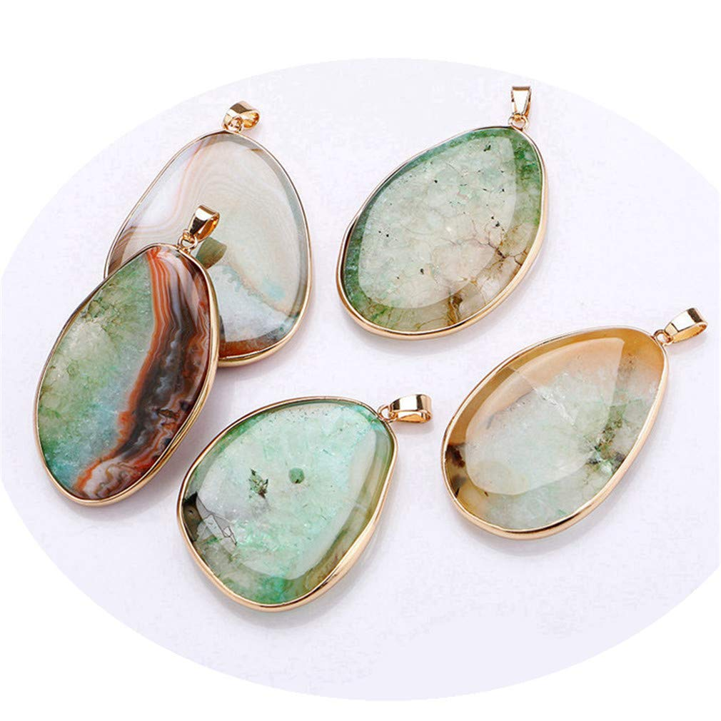 Natural Gemstone Pendant Necklace Stone Power Crystal Statement Pendentif Jewelry Band Women Long Necklace Water Pendant Black
