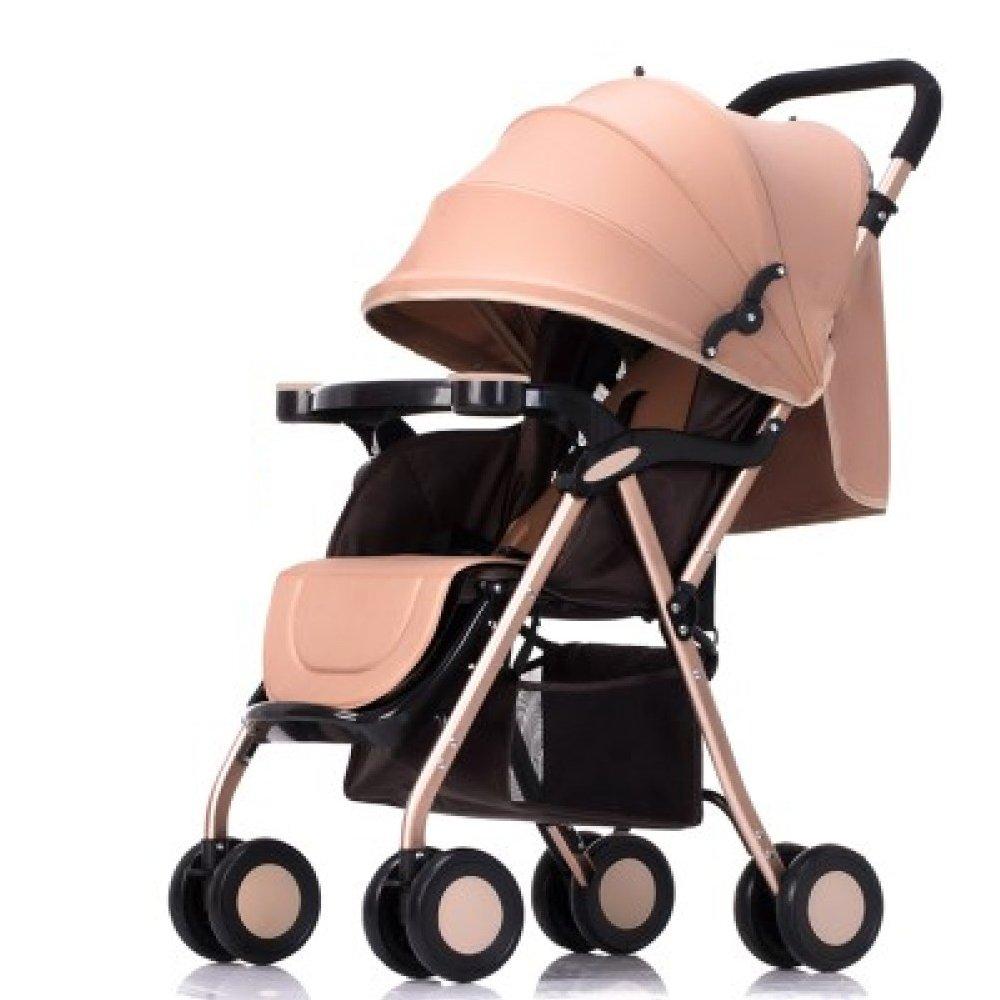 新生児のベビーカーは、0-3歳の赤ちゃん傘カートをリクライニングすることができます拡大し、長くする (褐)  褐 B07FMR5XHL