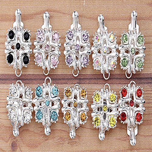 20set Silver Plated Crystal Dotted Square Tab Inserted Toggle Clasp 1 Row BB133 (Square Toggle Clasps Silver Plated)
