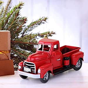 Vintage Metal Classic Pickup Handcrafted Red Truck w/Tree Farm House Rustic Decor Christmas
