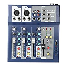 Andoer 4 Channel Live Mixer Mixing Console 3-Band EQ USB Function 48V Phantom with Bulit-in Effect Processor Mic Input