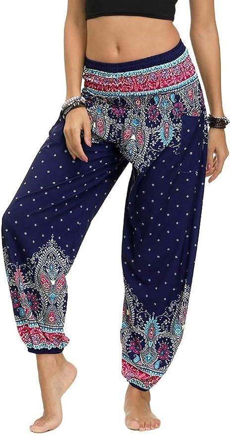 OLIPHEE Pantaloni Causuale con Tasche Disegno Harem Hippie Estivo per Yoga Stile Indiano per Donna e Ragazze